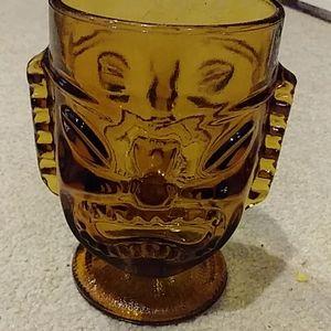 Amber tiki face glass mug vintage
